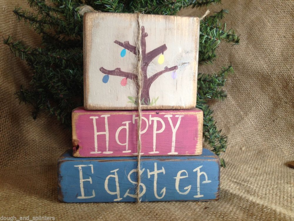Primitive Country Easter Egg Tree Happy Spring Shelf Sitter Blocks
