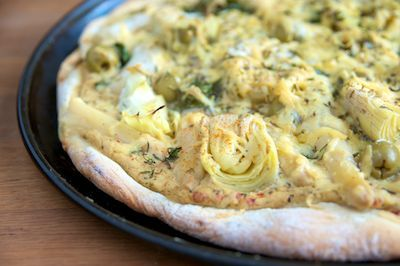 White Pizza with Artichokes, Asparagus and Green Olives