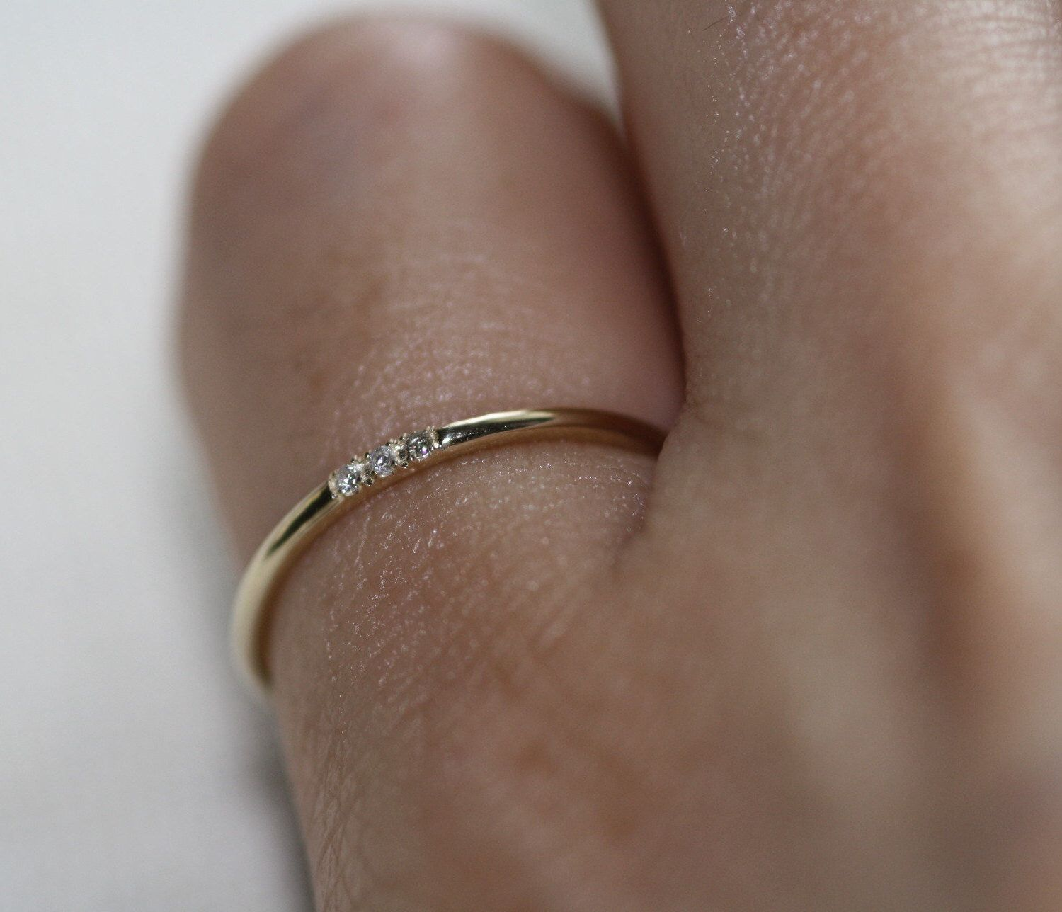 Little Finger Rings Pinkie Gold Ring Tiny Diamonds Simple Rings