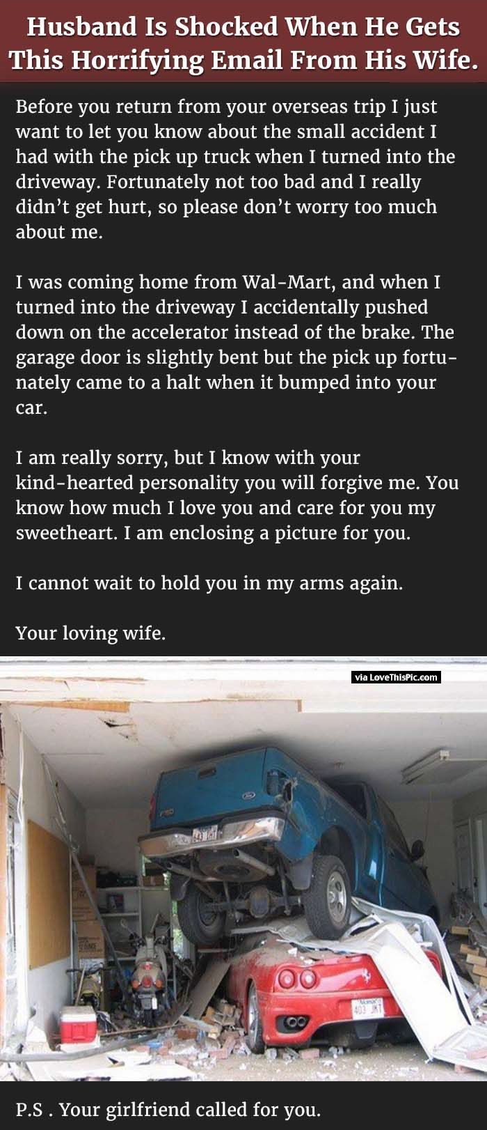 Husband Is Shocked When He Gets This Horrifying Email From His Wife Joke Stories Marriage Humor Husband Quotes Funny