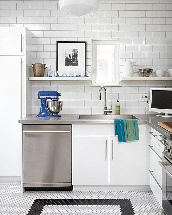 Ikea Kitchen Cabinets Stainless Steel Countertops And White Subway Tile In A Modern