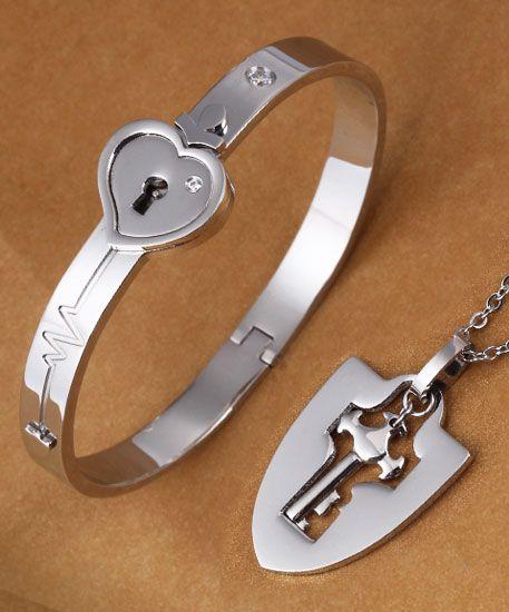 ea55e8c974 Matching Couple Pendant & Bangle Set, Heartbeat + Knight Shield + Lock and  Key @ iDream-Jewelry.Com