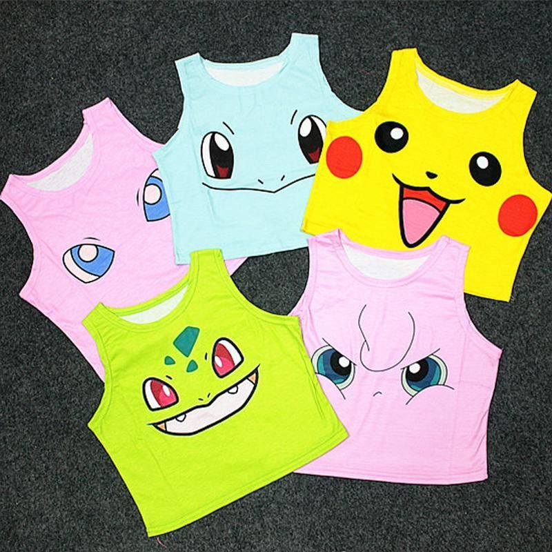 ca870d8cca862 Women s Squirtle Pikachu AA style Bustier Crop Top Sexy Sport Camisole 3D  Bulbasaur Pokemon cartoon Print cropped Top