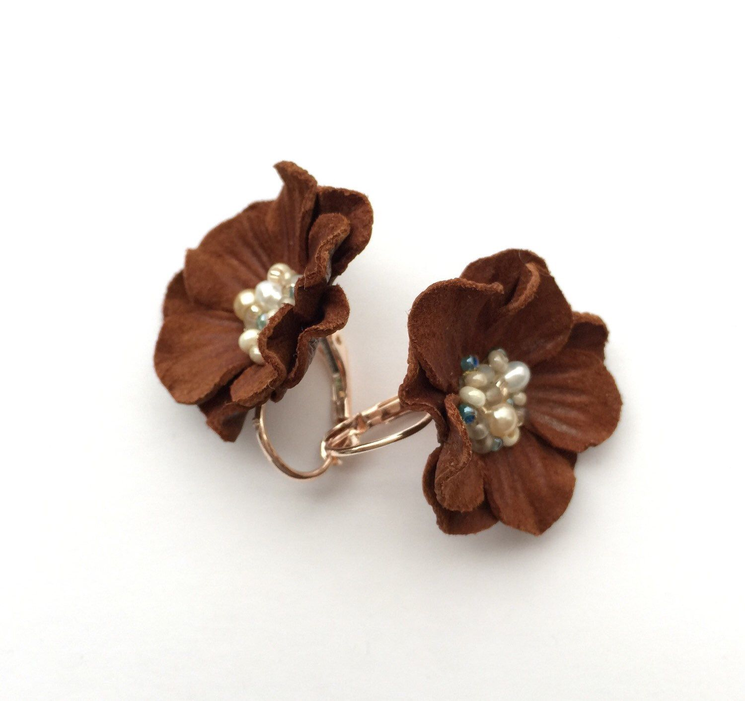 Chocolate Brown Leather Flower Earrings, Flower Earring, Bridesmaids Gift,  Vintage Earrings, Leather Earrings, Mothers Day Gift