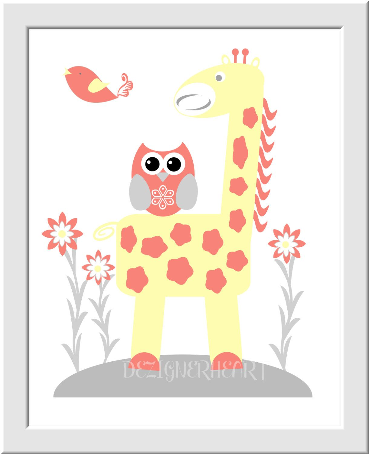 Baby Girl Nursery Wall Art Coral Yellow Elephants Giraffe Owl Safari ...