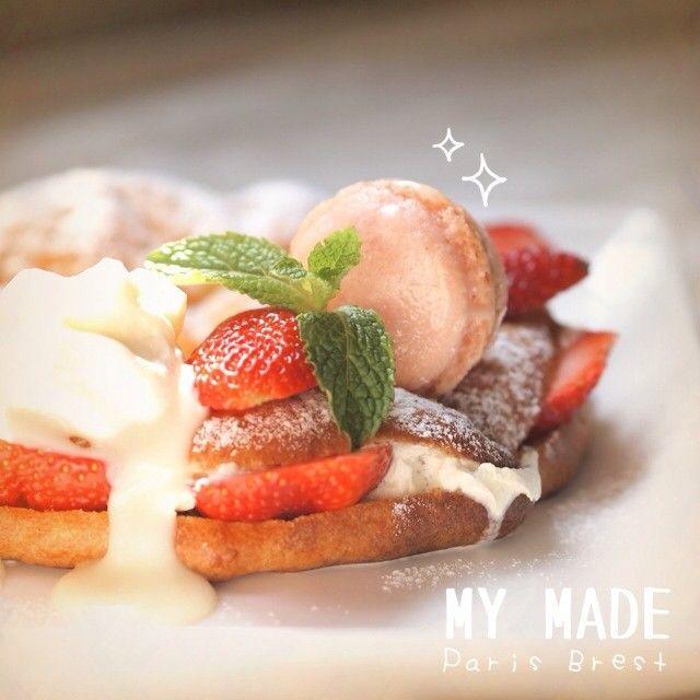 (●´゚ω゚)ノ*【こ】*【ん】*【ち】*【わ】*  今日のおやつレシピはイチゴパリブレストとベリーマカロンです。  ❤My Made : Paris Brest & Berry Macaron❤ — IG @songsweetsong , @sweetenupcafe