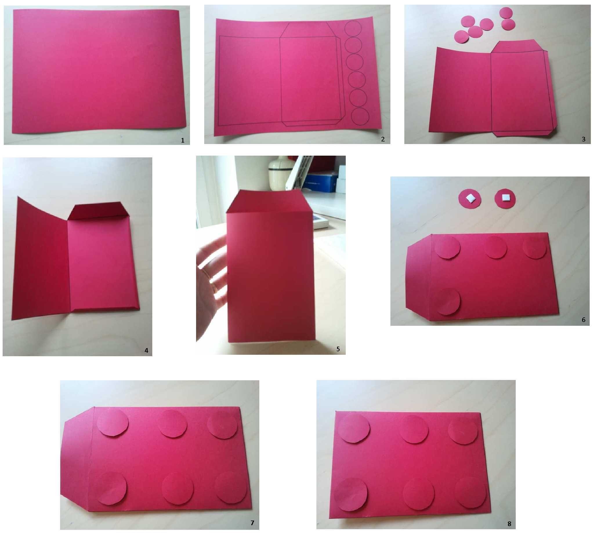 tuto pour confectionner une enveloppe brique lego mat riel du papier de couleur une paire de. Black Bedroom Furniture Sets. Home Design Ideas