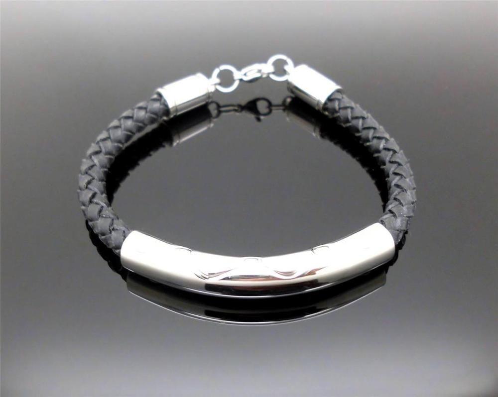 316l S Steel Braided Leather Cord Cremation Memorial Keepsake Urn Bracelet Nib