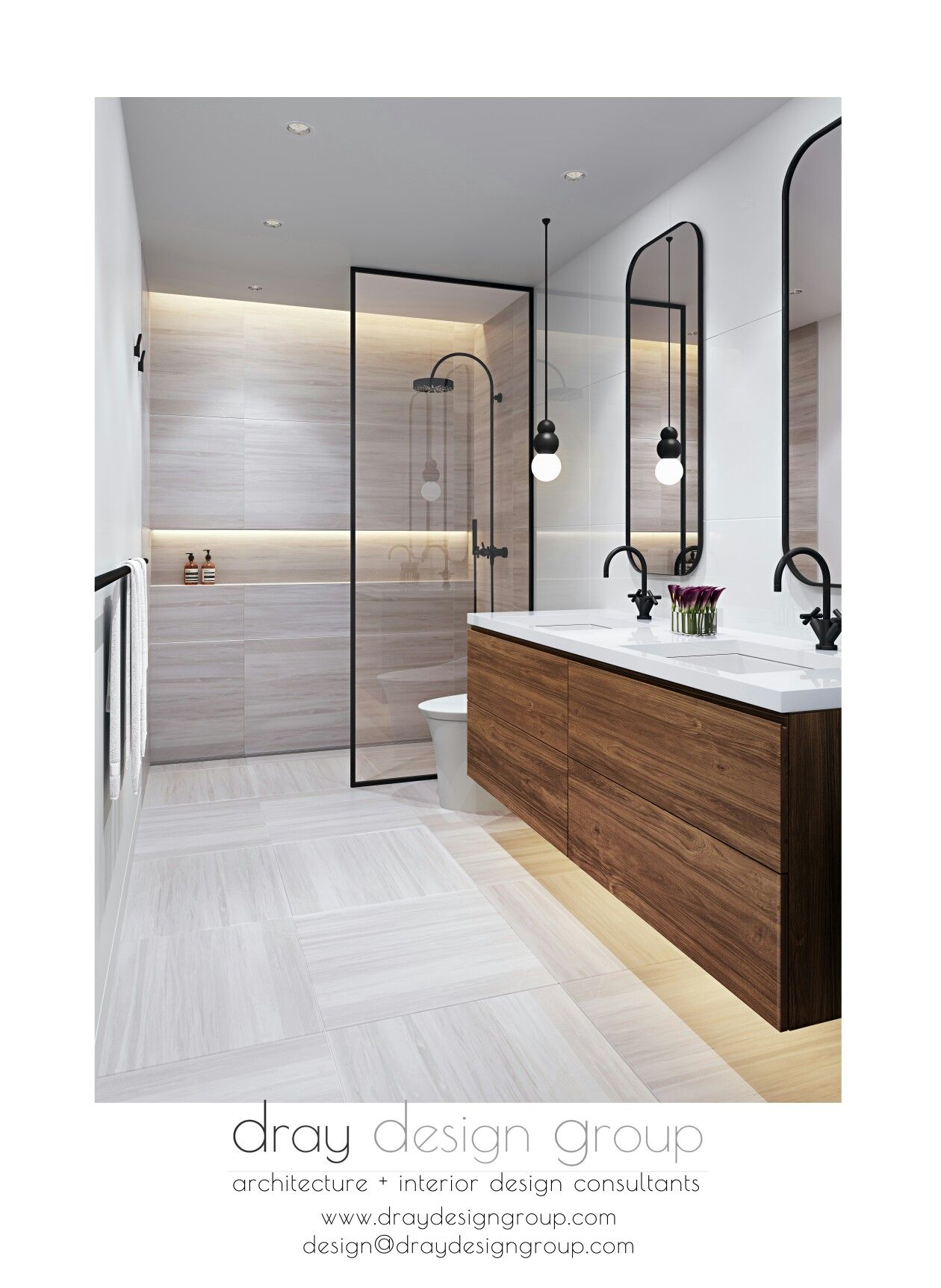 Miami Shores Residence Bathroom Renovation Warm Walnut Custom Vanity Balances The Clean Lin