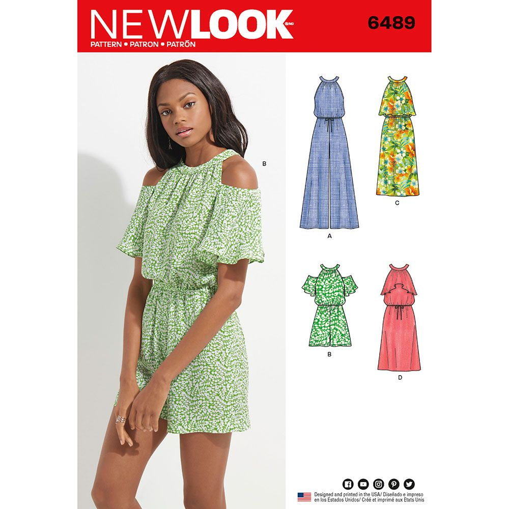 0a157af879cdd3 Misses Jumpsuit, Romper and Dress New Look Sewing Pattern 6489. Size 8-18.