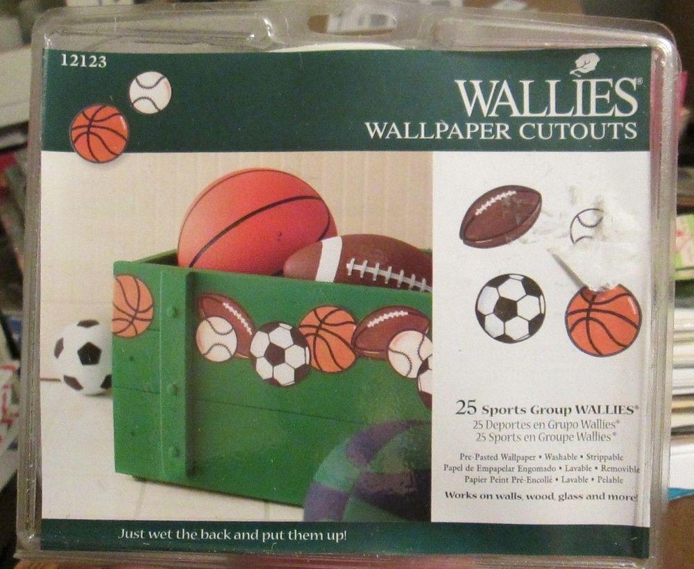 Wallies SPORTS Wallpaper Cutouts Football Baseball Basketball Soccer Ball Decals