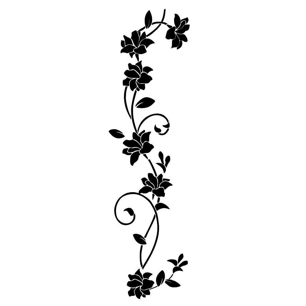 songmics hibiskus blume wandaufkleber pflanze blumenranke. Black Bedroom Furniture Sets. Home Design Ideas