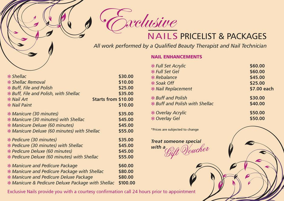 Exclusive Nails Nail Salon Prices Salon Price List Beauty Salon Price List