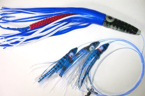 """12/"""" RIGGED GREEN MACHINE STYLE TROLLING LURE OFFSHORE BLUE//WHITE"""