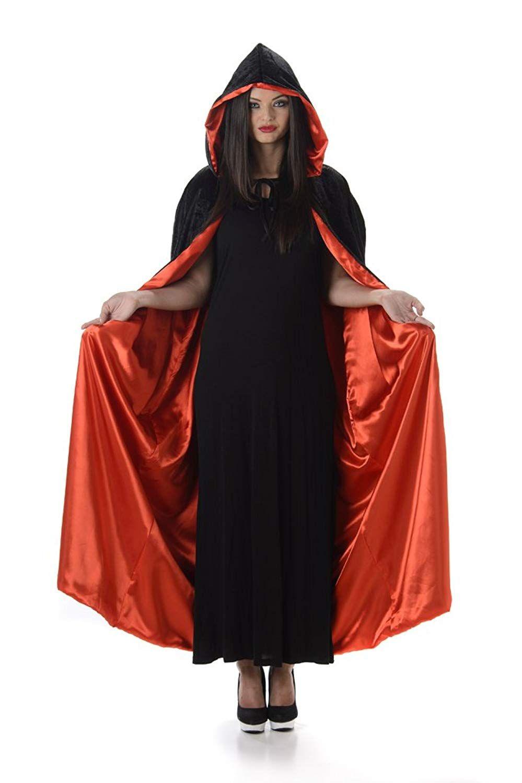 SHORT Velour Unisex Black Hooded Cape PURPLE Lining Halloween Fancy Dress