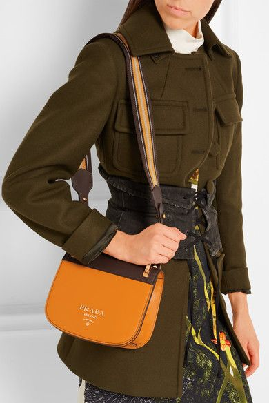 536fad5b435838 Prada | Pionnière canvas-trimmed two-tone leather shoulder bag | NET-A -PORTER.COM