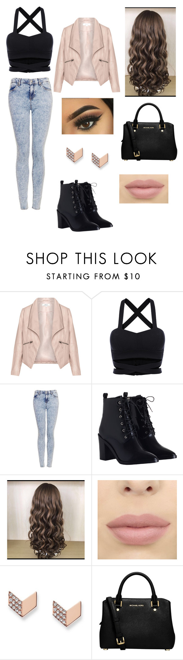 """Night out💗"" by qxeenallyyy ❤ liked on Polyvore featuring Zizzi, Topshop, Zimmermann, FOSSIL and MICHAEL Michael Kors"