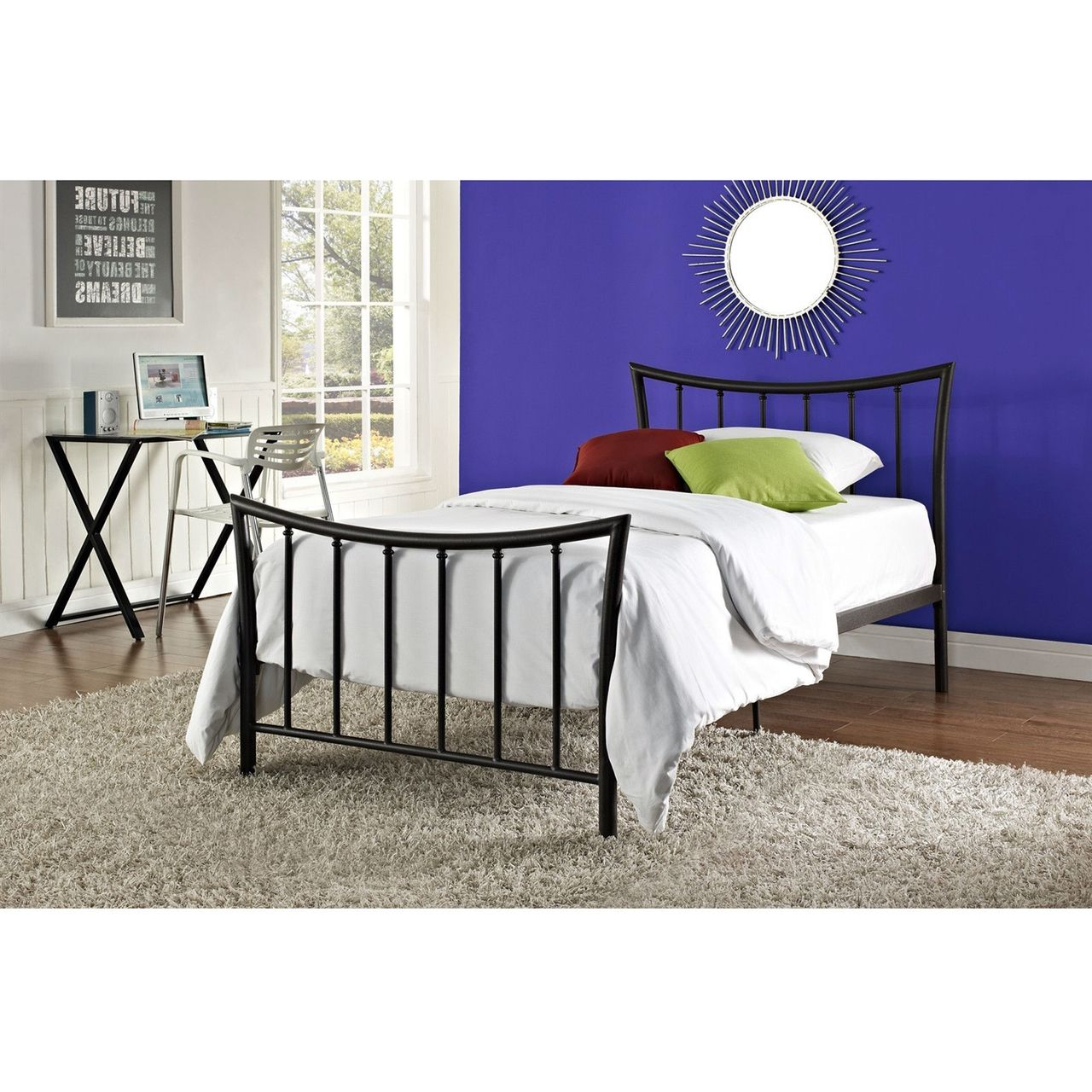 Twin Bronze Metal Platform Bed Frame with Headboard and