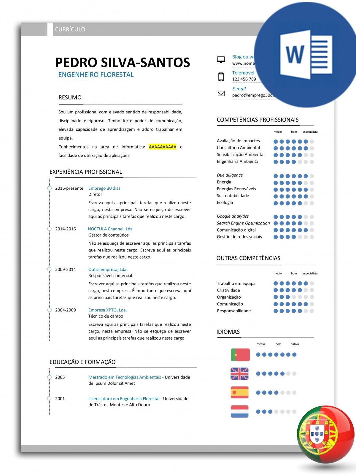CV-PSS-E30D-006 - modelo de currículo editável com uma única página ...