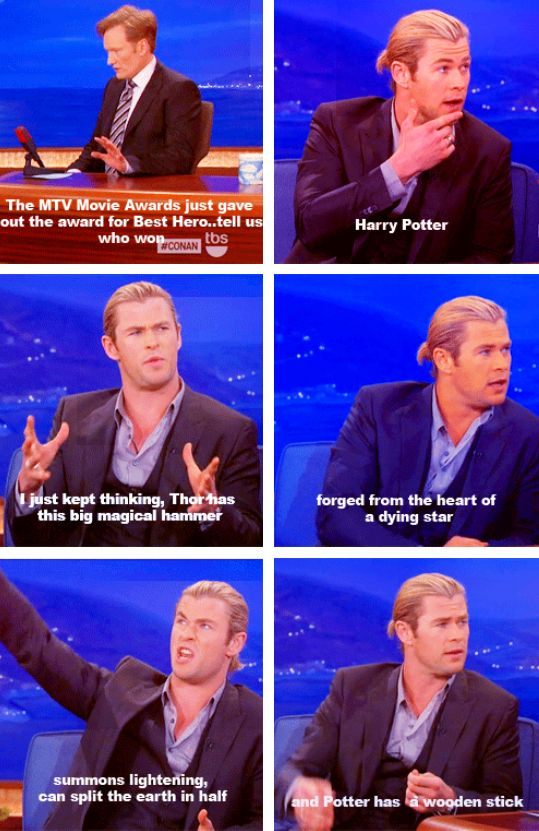 Thor vs. Harry Potter...haha, but the last Harry Potter did definitely top Thor.