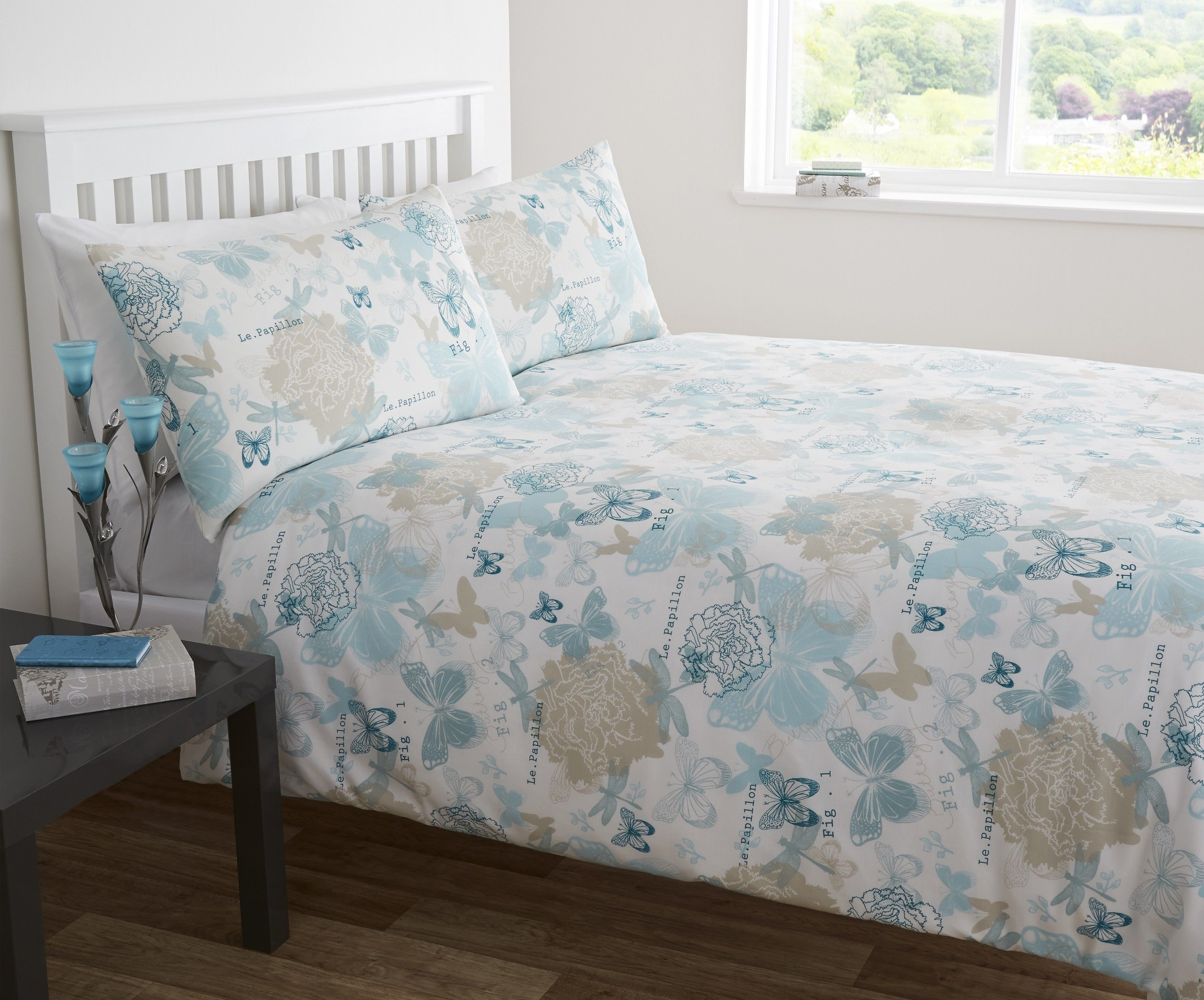 Life From Coloroll Erfly Sketch Duvet Set Duck Egg Ponden Homes