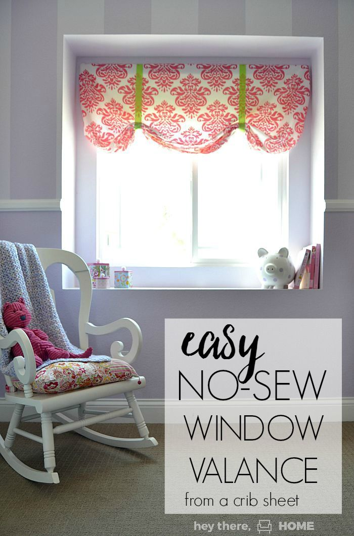 The Easiest No Sew Window Valence Ever Sewing Room Decor No Sew Valance Valences For Windows