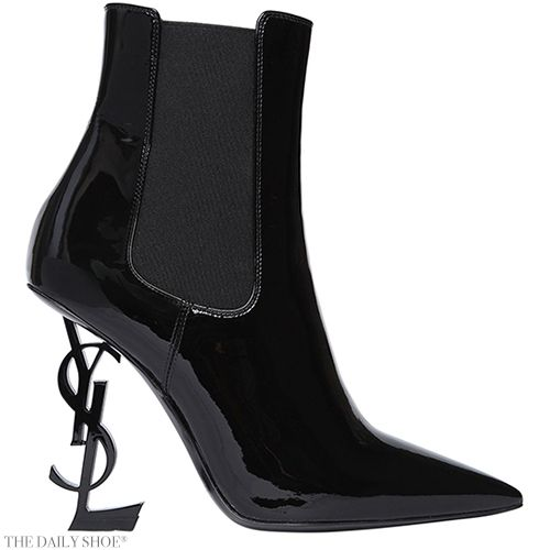 bffd081c558 SAINT LAURENT Opyum YSL Logo Heel Patent Leather Boots Shop online for  these at Luisaviaroma June 14 2017 at 04:41PM Kara Fox