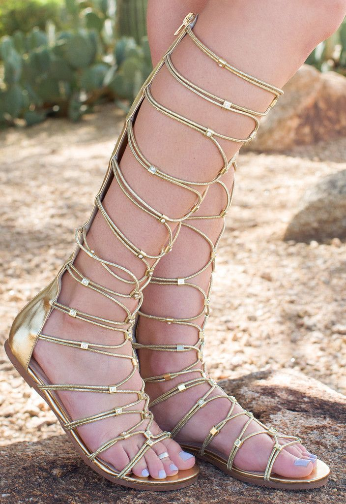 e7fb9d7841d3 Embody a Greek goddess in these Goddess Gladiator Sandals in gold!  Featuring a faux leather