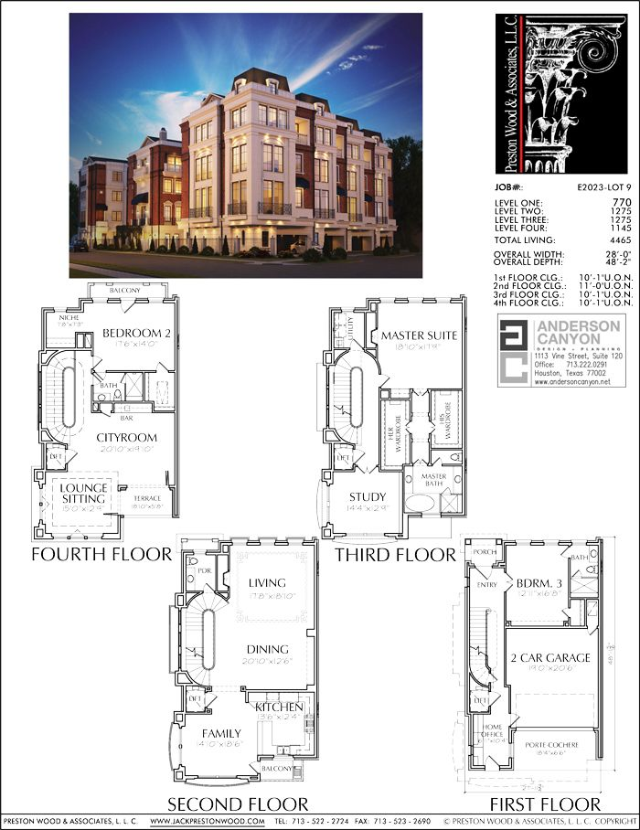 Four Story Townhouse Plan E2023 Lot 9 How To Plan Apartment Floor Plans Townhouse