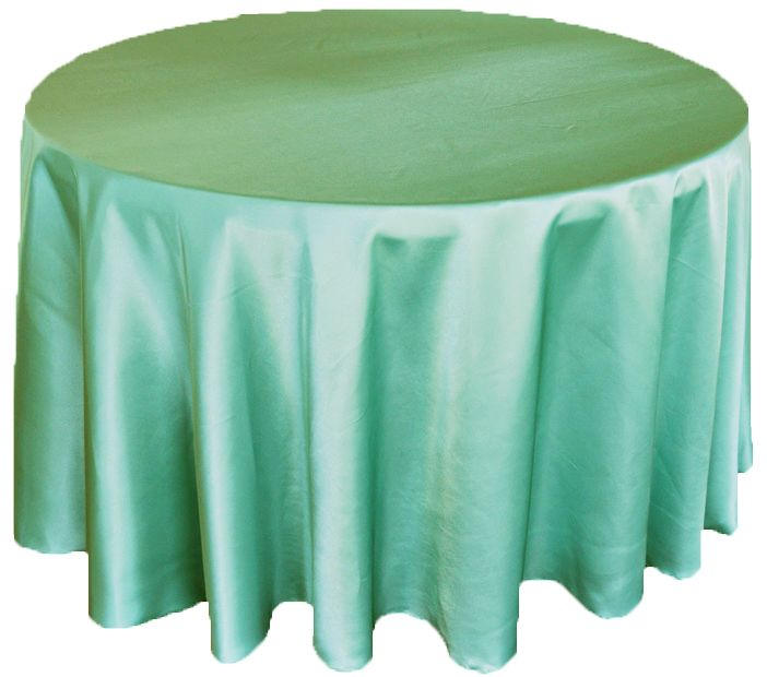120 Satin Seamless Round Table Cloth Tiffany Blue Aqua 55818