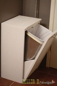 tilt out trash cabinet from salvaged shutter, doors, kitchen cabinets, woodworking projects