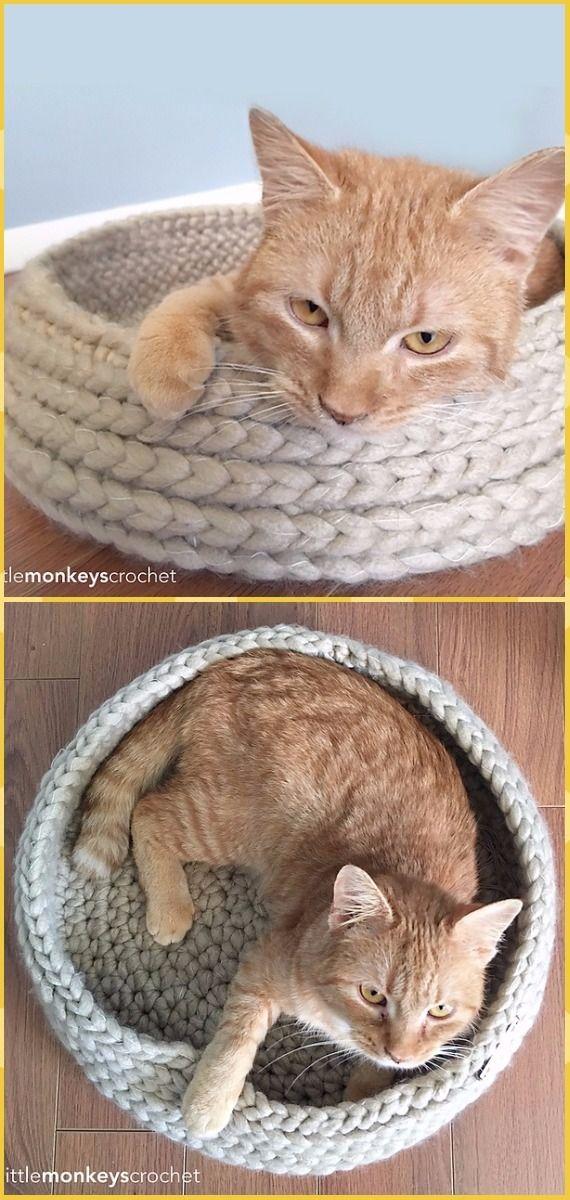 Crochet Tabby Chic Cat Bed Free Pattern - Crochet Cat House Patterns ...
