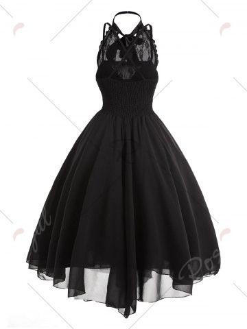 cross back lace panel gothic corset dress  gothic corset