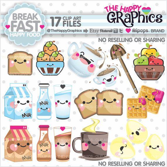 Breakfast Clipart, Breakfast Graphics, COMMERCIAL USE, Kawaii ...