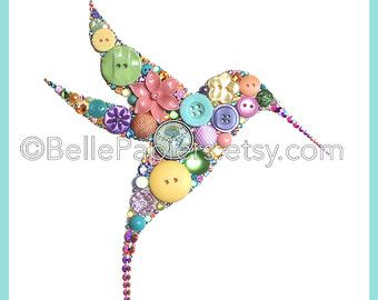 Button Art Hummingbird Decorations Ruby Throated by BellePapiers