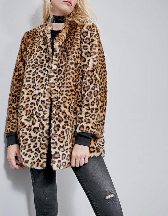 Mujer Leopardo Abrigo Por Encontrarás En 1 Stradivarius Pelo Para qwT60H