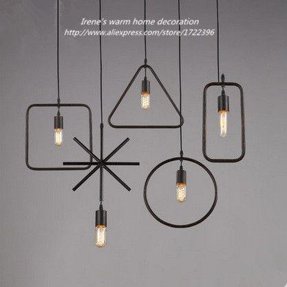 Industrial Vintage Pendant Lights,Geometry Retro Loft Style Pendant Lamps  Hanging Lights,Lustres E