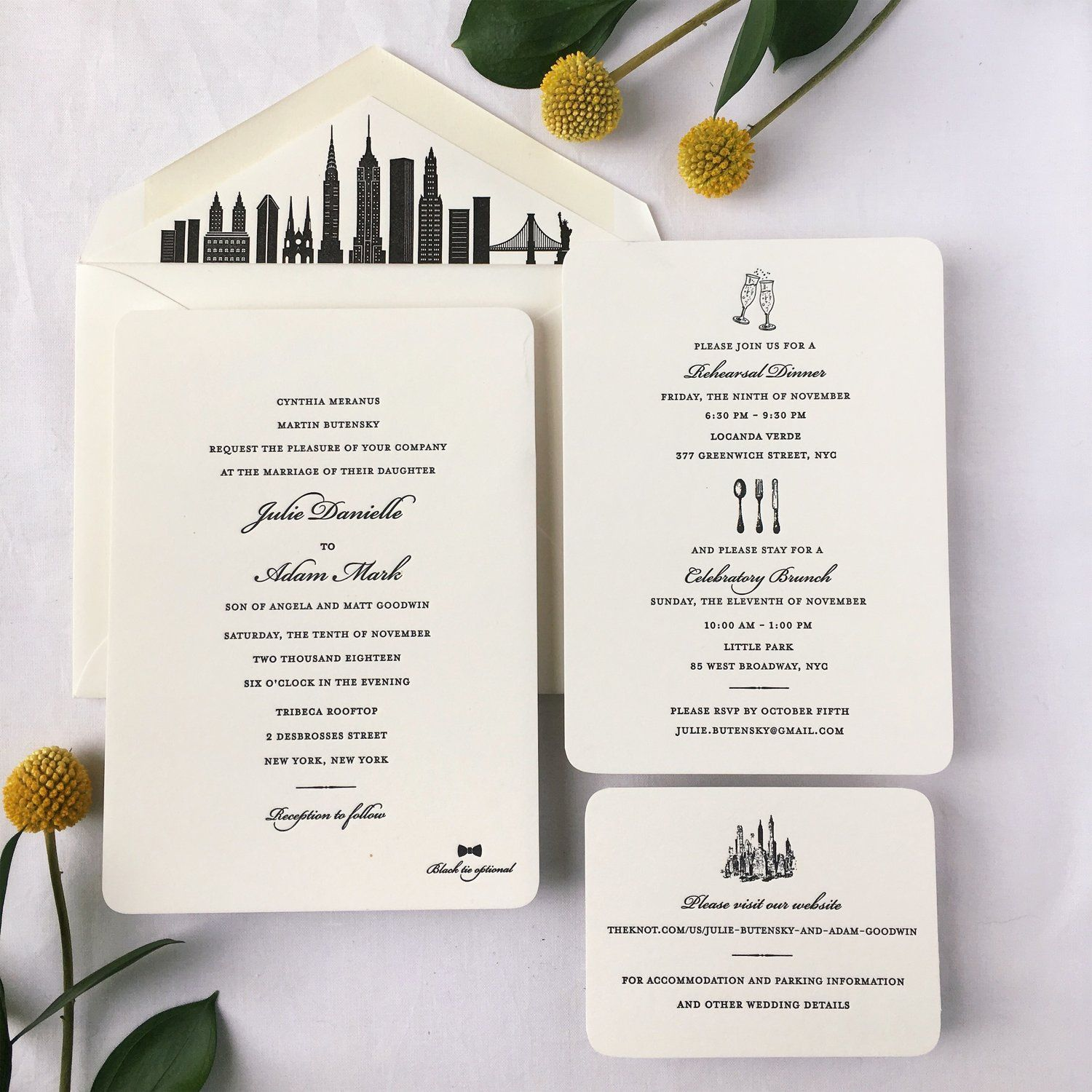 Nyc Themed Wedding Invitations Printed In Black Ink For A City Wedding New Timeless Wedding Invitations City Wedding Invitations Printing Wedding Invitations