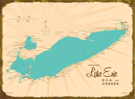 Lake Erie Map Metal Sign Lakebound Maps Pinterest Map Lake