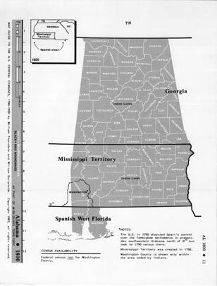 Map Guide to the U.S. Federal Censuses, Alabama 1800-1920 Map Packet ...