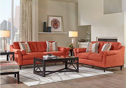 Sofia Vergara Angora Terracotta 7 Pc Living Room Home