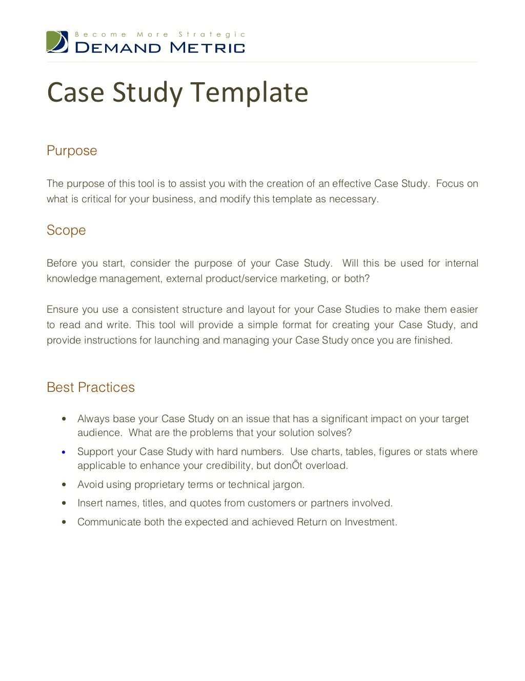 case-study-template-12316211 by Demand Metric via Slideshare | B2B
