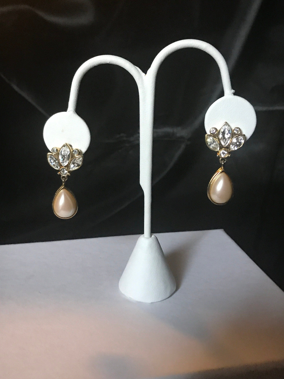 Crystal Teardrop Faux Pearl Gold Tone Clip Earring