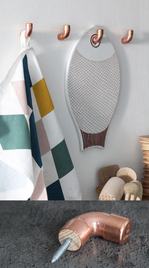 Perchero de pared con codos de cobre DIY • DIY Copper fittings wall rack by Bambula