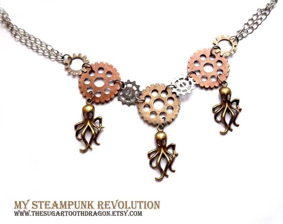 3 Octopi Necklace  My Steampunk Revolution by thesugartoothdragon, $28.00