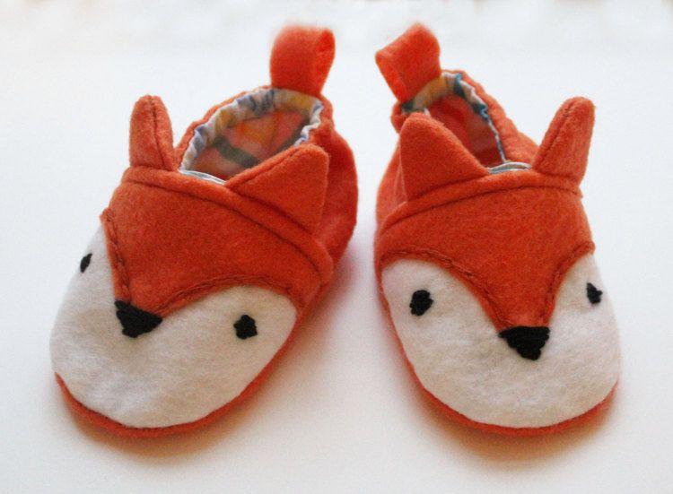 Fox Baby Shoes Animal Booties Felt by littlesurprisesblog