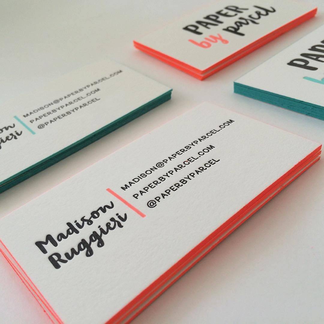 letterpress business cards + edge painting | swell press paper ...