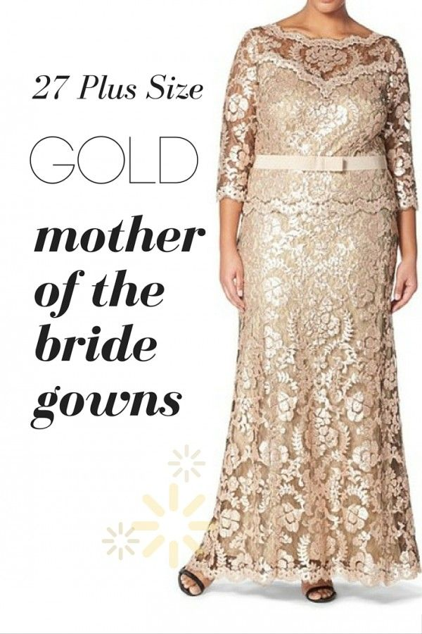 Plus Size Gold Mother of the Bride Gowns\
