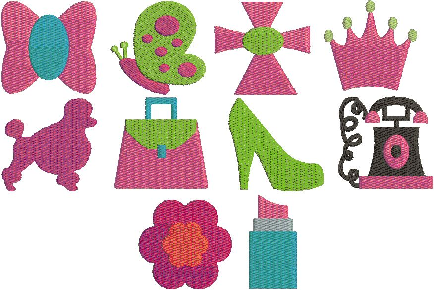 Girly Mini Embroidery Desings Embroidery Designs Pinterest