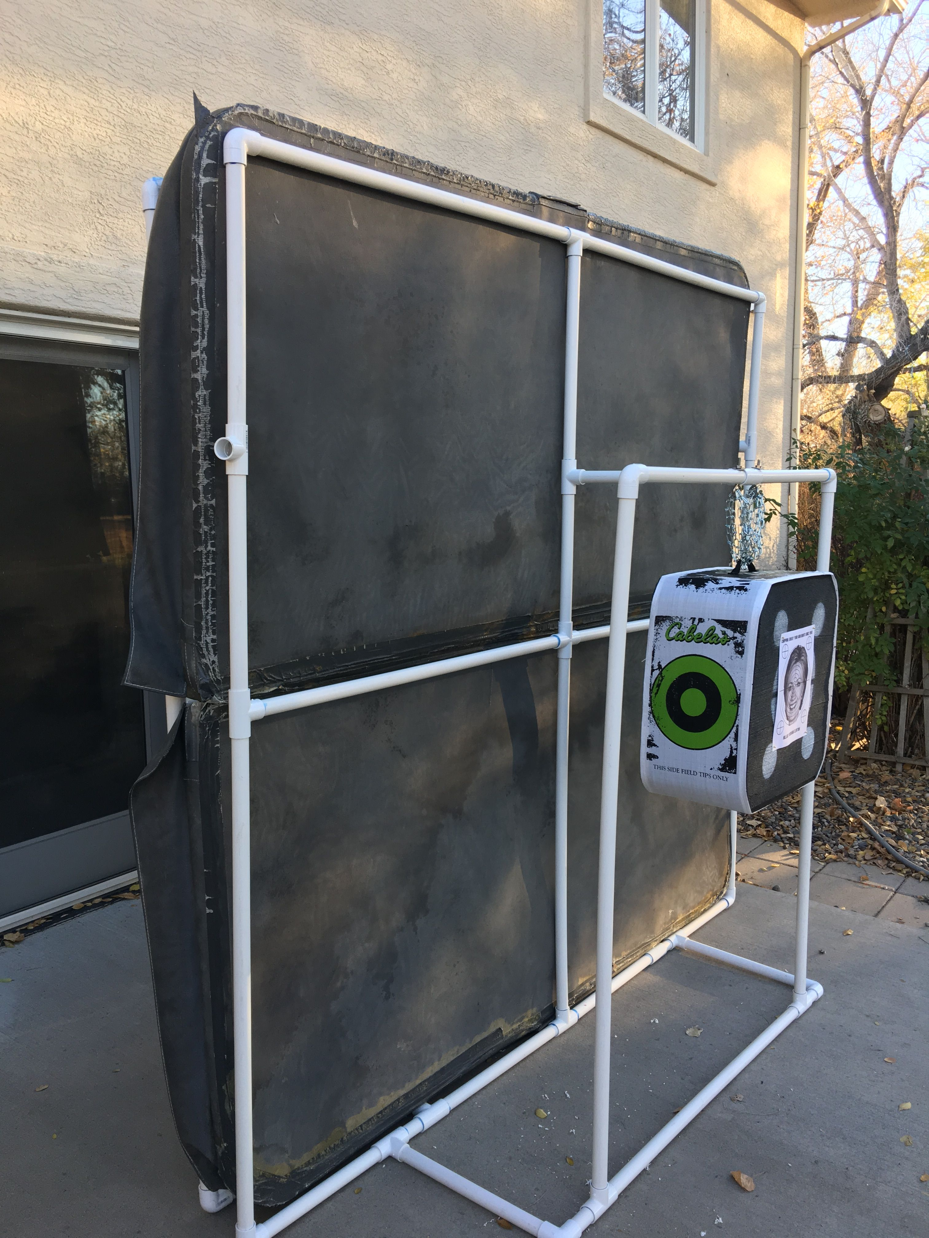 This Is An Archery Target And Backstop I Made Out Of Pvc And An Old Hot Tub Cover Diy Archery Target Archery Accessories Traditional Archery